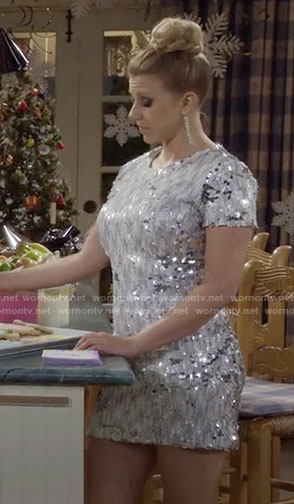 Stephanie's silver sequined New Years Eve dress on Fuller House
