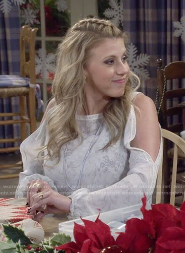 Stephanie's white floral cold-shoulder blouse on Fuller House
