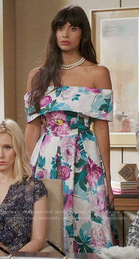 Tahani's floral off-shoulder dress on The Good Place