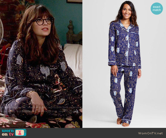 Target Flannel Pajama Set in Owl Stargaze worn by Jessica Day (Zooey Deschanel) on New Girl