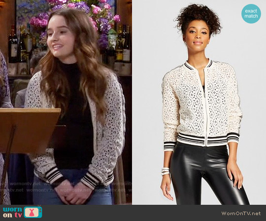 Target Athletic Bomber Jacket Ivory worn by Eve Baxter (Kaitlyn Dever) on Last Man Standing