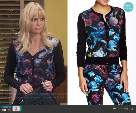 Ted Baker 'Deia' Floral Print Mixed Media Cardigan worn by Anna Faris on Mom