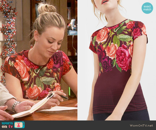Ted Baker Melarnie T-shirt worn by Kaley Cuoco on The Big Bang Theory