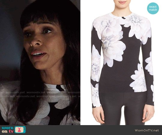 Ted Baker 'Traze' Floral Print Cotton Sweater worn by Camille Saroyan (Tamara Taylor) on Bones