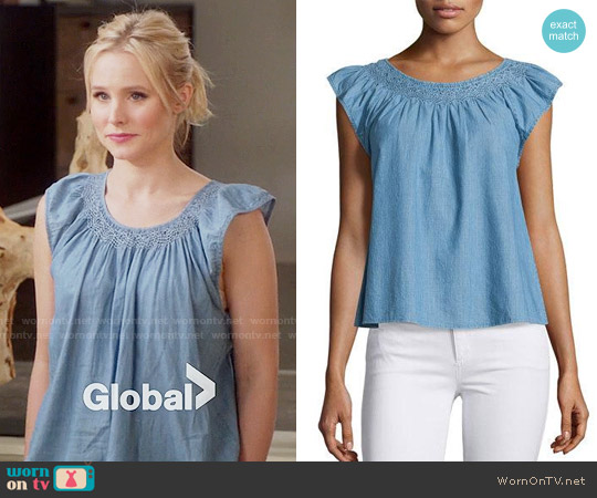 The Great Flutter Sleeve Top worn by Eleanor Shellstrop (Kristen Bell) on The Good Place