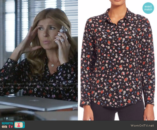 The Kooples Flower Print Silk Shirt worn by Rayna Jaymes (Connie Britton) on Nashville