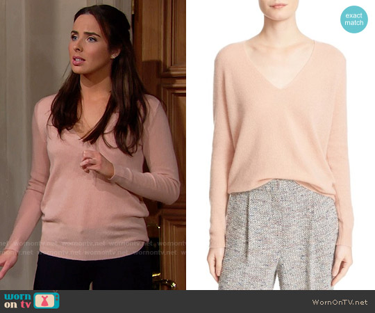 Theory Adrianna Sweater in Pale Rose worn by Ashleigh Brewer on The Bold & the Beautiful