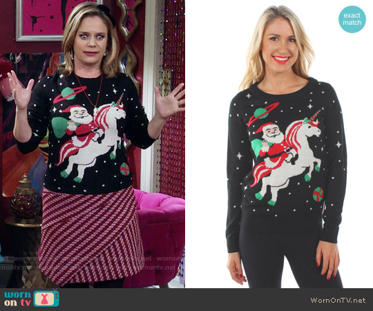Tipsy Elves Santa Unicorn Sweater worn by Andrea Barber on Fuller House