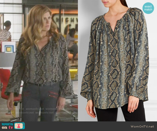 Tom Ford Snake-print Silk-georgette Blouse worn by Connie Britton on Nashville