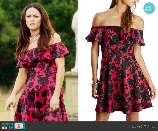Topshop Floral Print Ruffle Off the Shoulder Fit & Flare Dress worn by Alexandra Park on The Royals