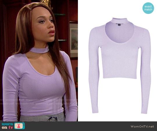 Topshop Long Sleeve Choker Top worn by Nicole Avant (Reign Edwards) on The Bold & the Beautiful