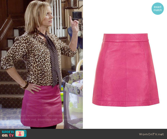 Topshop Pink Leather A-Line Skirt worn by Kimmy Gibbler on Fuller House