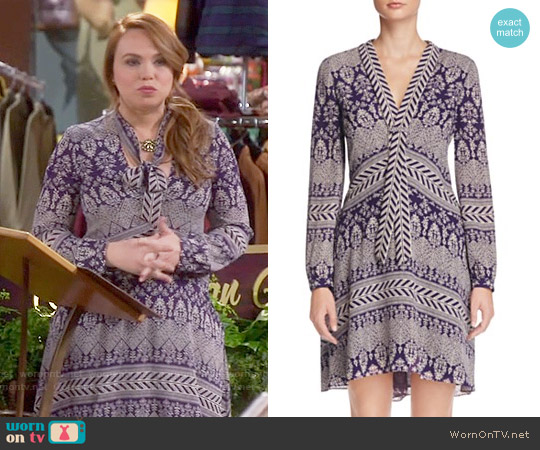 Tory Burch Bourdelle Graphic Floral Silk Dress worn by Amanda Fuller on Last Man Standing