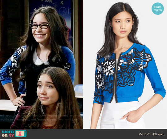 Tracy Reese Print Front Zip Cardigan worn by Isadora Smackle (Cecilia Balagot) on Girl Meets World