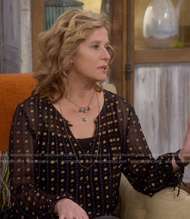 Vanessa's black star print blouse on Last Man Standing