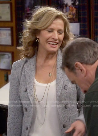 Vanessa's grey double-breasted blazer on Last Man Standing