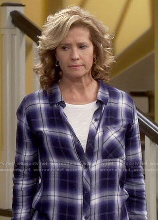 Vanessa's navy plaid shirt on Last Man Standing