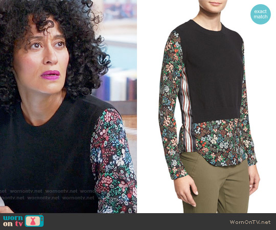 Veronica Beard Mellow Mixed-Media Cashmere Sweater worn by Tracee Ellis Ross on Blackish