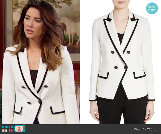 Veronica Beard Harriet Blazer worn by Steffy Forrester (Jacqueline MacInnes Wood) on The Bold & the Beautiful