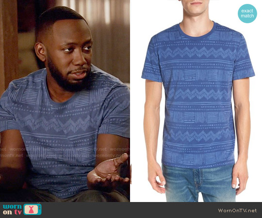 Vestige Print Cotton T-Shirt worn by Lamorne Morris on New Girl