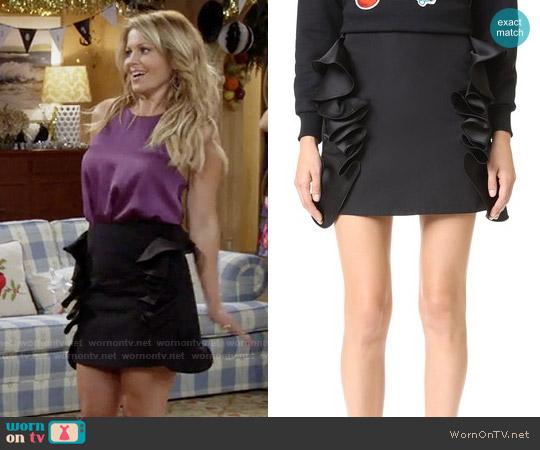 Victoria Beckham Flounce Trim Miniskirt worn by DJ Tanner-Fuller on Fuller House