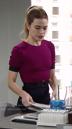 Victoria's purple and navy dress on The Young and the Restless