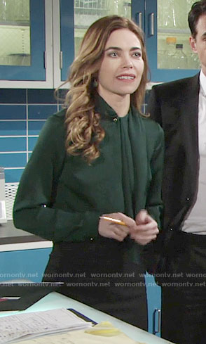 Victoria's green blouse on The Young and the Restless