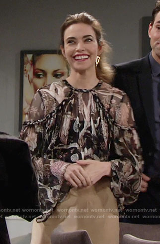 Victoria's sheer floral blouse with braided trim on The Young and the Restless
