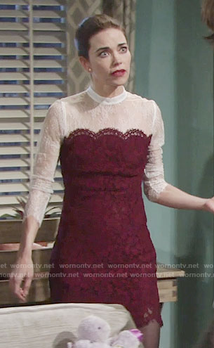 Victoria's red and white lace dress on The Young and the Restless