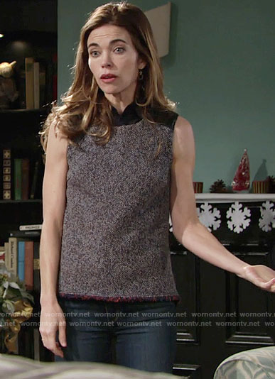 Victoria's sleeveless tweed top on The Young and the Restless