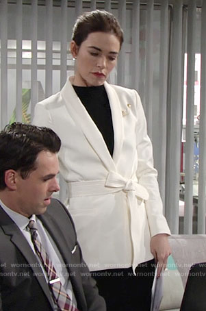 Victoria's white belted jacket on The Young and the Restless