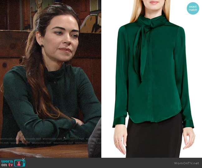 Vince Camuto Side Neck Scarf Blouse worn by Victoria Newman (Amelia Heinle) on The Young & the Restless