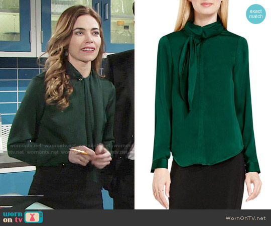 Vince Camuto Side Neck Scarf Blouse worn by Amelia Heinle on The Young & the Restless