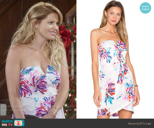 Yumi Kim Date Night Dress in Wild Impression White worn by Candace Cameron Bure on Fuller House