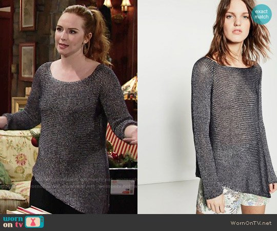 Zara Asymmetric Sweater worn by Camryn Grimes on The Young & the Restless