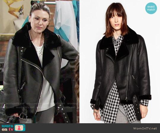 Zara Faux Fur Collar Biker Jacket worn by Elizabeth Hendrickson on The Young & the Restless