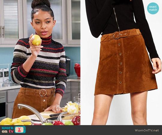 Zara Leather Mini Skirt worn by Zoey Johnson on Blackish
