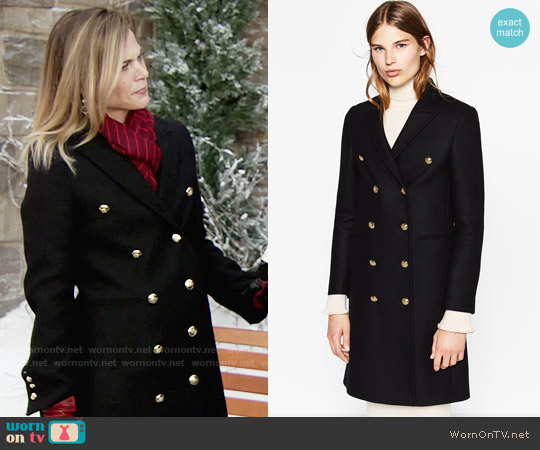 Zara Long Crossover Coat worn by Gina Tognoni on The Young & the Restless