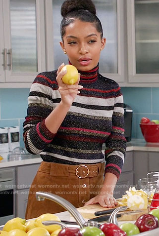 Zoey's striped turtleneck sweater and suede buttoned front skirt on Black-ish