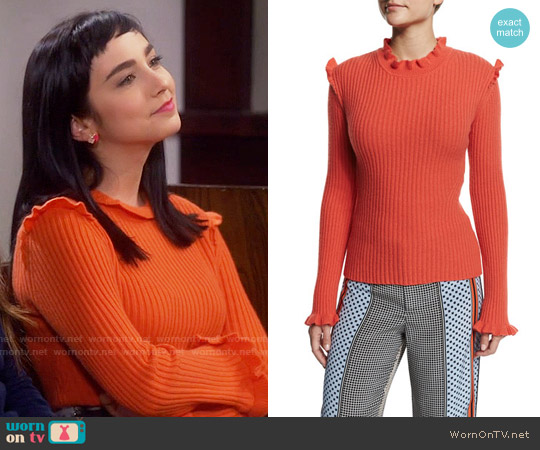 10 Crosby by Derek Lam Ribbed Cashmere Ruffle-Trim Sweater worn by  Molly Ephraim on Last Man Standing