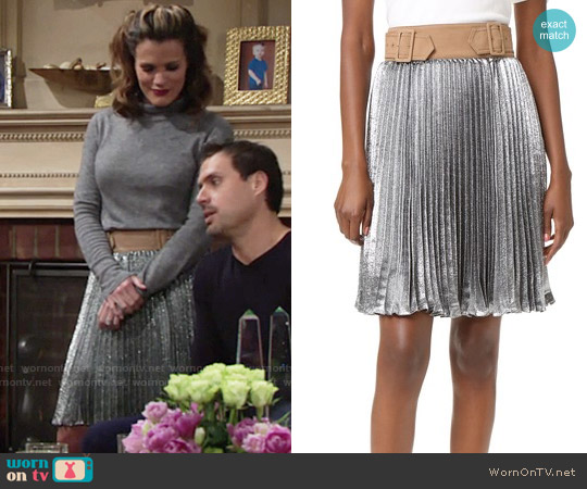 3.1 Phillp Lim Sunburst Pleated Skirt worn by Chelsea Lawson on The Young & the Restless