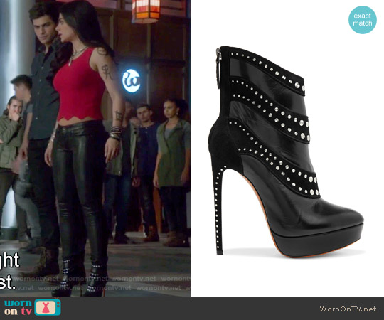 Embellished leather and suede ankle boots by Alaia worn by Emeraude Toubia  on Shadowhunters