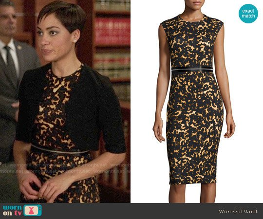 Alexander McQueen Printed Bodycon Zip Dress worn by Cush Jumbo on The Good Fight