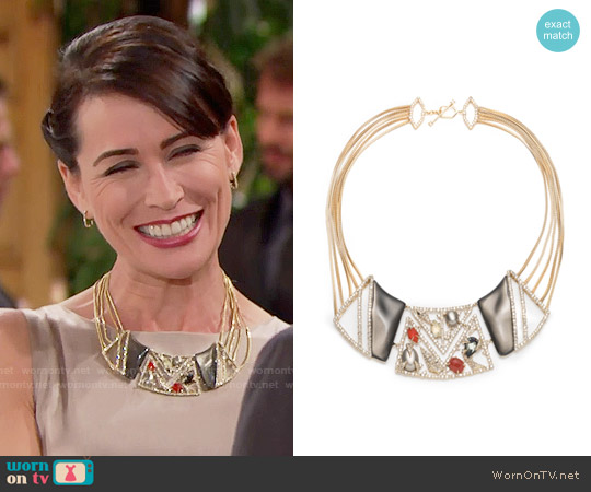 Alexis Bittar Crystal Ecrusted Mosaic Lace Bib Necklace worn by Quinn Fuller on The Bold & the Beautiful