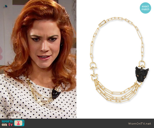 Alexis Bittar Crystal Panther Necklace worn by Sally Spectra on The Bold & the Beautiful