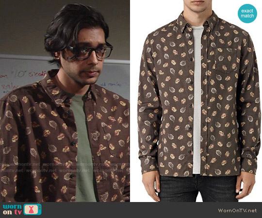 All Saints Wieppe Leaf Print Shirt worn by Abhi Sinha on The Young & the Restless