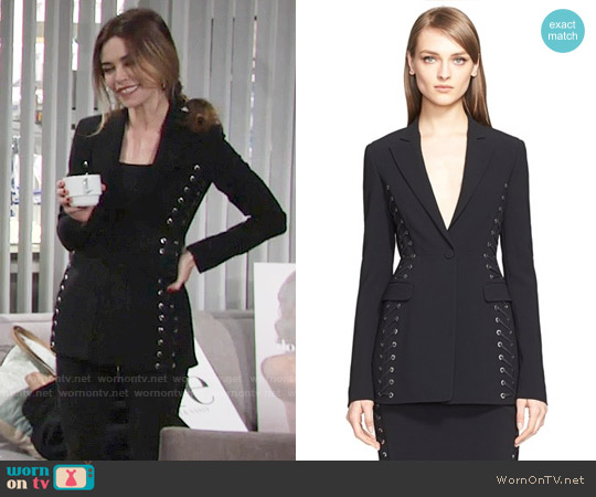Altuzarra Lace-Up Sides Blazer worn by Victoria Newman (Amelia Heinle) on The Young & the Restless