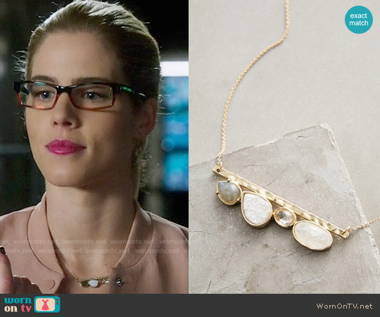 Anthropologie Hiley Bar Necklace worn by Emily Bett Rickards on Arrow