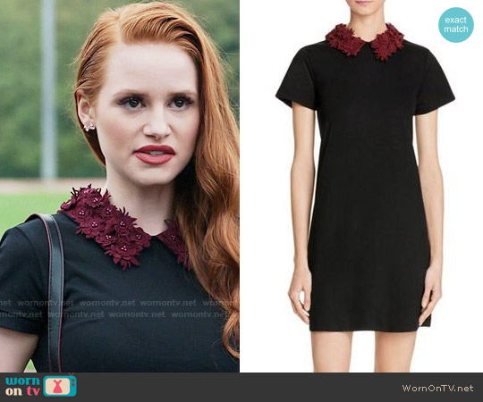 Aqua Floral Collar Dress worn by Madelaine Petsch on Riverdale