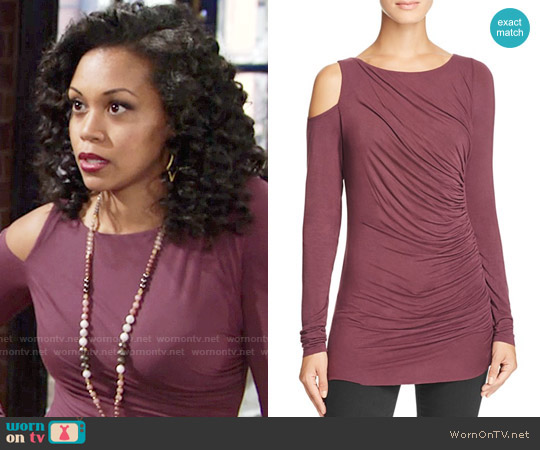Bailey 44 Savy Cold Shoulder Top in Plum worn by Hilary Curtis (Mishael Morgan) on The Young & the Restless